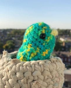 A picture of a crochet green bird sitting in a crochet nest