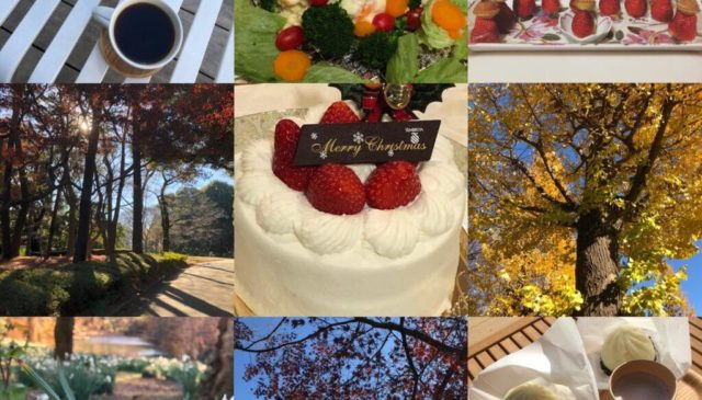 Images from Japan: coffee, vegetables, strawberries, trees, a cake, and flowers