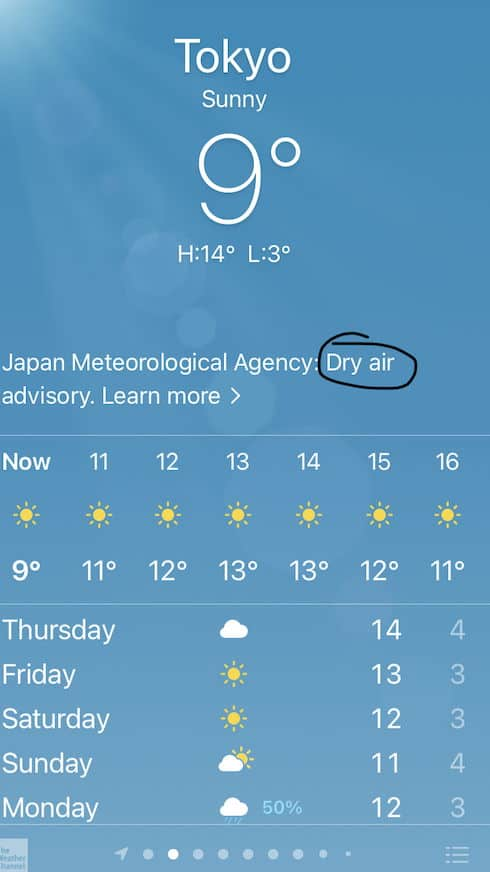 Screenshot of the weather forecast in Tokyo