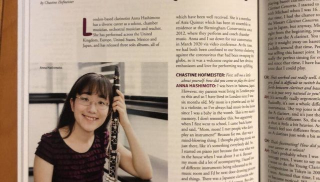 The first page of an interview article in the ICA Clarinet magazine