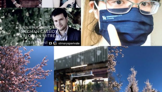 Photo collage of Anna, Florian, and Meghan, a train station, and cherry blossoms