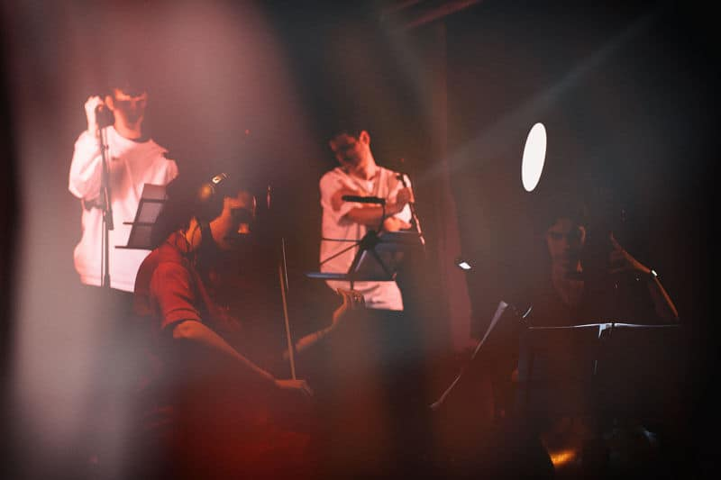 Photograph of Manchester Collective in performance